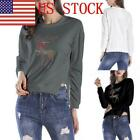 US Women's Christmas Sweatshirt Irregular  Round Collar Long Sleeve Sport Top 03