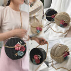 Women Girls Round Straw Rattan Crossbody Bag Casual Shoulder Circle  Bags
