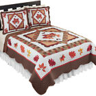 Fall Leaves Patchwork Quilt, Reversible, Holiday Bedroom Decor image