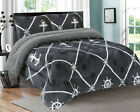 3 Piece Anchor Gray Black White Flannel Sherpa Blanket Queen/King Size 7 lbs image