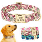 Personalized Floral Dog Collar Custom Pet ID Collar Engraved Small Medium Large
