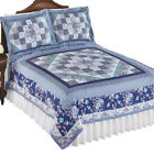 Floral Diamond and Stripes Patchwork Quilt to Instantly Add a Touch of Elegance image
