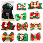 20/200pcs Wholesale Christmas Dog Hair Bows Rubber Band Pet Cat Grooming Topknot