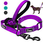 Nylon Reflective Dog Collar & Leads for Small Large Dogs Training Purple Black