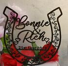 Wedding Cake Topper, Rustic Horseshoe Cake Topper, Cowboy cowgirl,Personalized