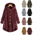 Women Teddy Bear Button Plus Size Fluffy Coat Fleece Fur Jacket Outerwear Hoodie