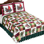 Reversible Cardinal Pinecone Plaid Patchwork Quilt - Holiday Bedroom Decor image