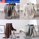 51x63 Soft Knitted Throw Blanket Bed Sofa Couch Decorative Fringe Waffle Pattern image