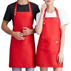 New Home Waterproof Apron Unisex Chef Waiter Pinafore Kitchen Working Bib Pocket