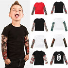 Toddler Kids Baby Boys Girls Tattoo Print Long Sleeve T shirt Tops Tees Clothes