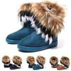 Women's Warm Suede Faux Fox Fur Short Snow Boots Platform Shoes