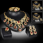 Fashion Necklace Earrings Bracelet Ring Women Gold Crystal Bridal Jewelry Set Us