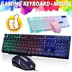 Computer Gaming RGB LED Keyboard And Mouse Backlit Mechanical Feeling Keyboard
