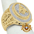 MENS REAL DIAMOND FREE MASON MASONIC G COMPASS RING BAND 10K YELLOW GOLD FINISH