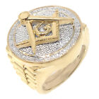 MENS REAL DIAMOND FREE MASON MASONIC G COMPASS RING 10K YELLOW GOLD FINISH Bold