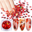 Autumn Maple Leaf Nail Art Glitter Snowflake Sequins Spangle Flakes Sticker Tips