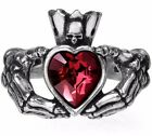 Alchemy Gothic Claddagh By Night Skeleton Hands Red Crystal Heart Ring R210 image