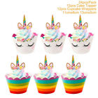 24 Pcs Rainbow Cupcake Toppers Wrappers Baby Shower Supplie Kids Birthday Decor