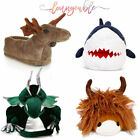 Loungeable Mens Novelty Moose Shark Cow Dragon 3D Warm Soft Plush Slippers