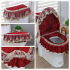 3Pcs/Set Bathroom Toilet Seat Cover Lace Velvet Tank Cover Lid Pads Washable New