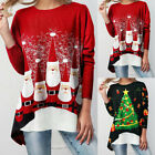 Womens Pullover Long Sleeve Christmas Color Matching Santas T Shirt Blouse Tops