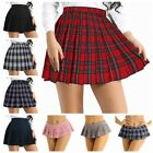 Women's School Girls Pleated Mini Skirt Plaid School Uniform Cosplay Costume