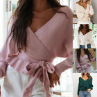 Women's Wrap V Neck Long Sleeve Belted Waist Ruffle Knitted Sweater Pullover