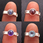 Blue Topaz, Labradorite ,Garnet Amethyst 925 Sterling Silver Ring US All size