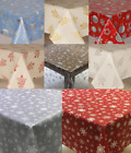 Plain Textured Christmas Pvc Oil Vinyl Table Cloth Wipe Clean Grey Red Modern