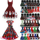 Women's Vintage Retro Swing Dress Christmas Xmas Party Skater Fancy Dresses UK