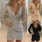 Womens Sexy V Neck Sequin Mini Bodycon Dress Ladies Long Sleeve Party Ball Gown