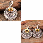 Faceted Citrine Gemstone 925 Silver Jewelry Beautiful Solid Pendant Earring Set