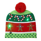 Knitted Family Christmas Hat LED Christmas Tree Pompom Ball Beanie-Hat Scarf Set