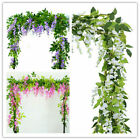 2x 7ft Artificial Wisteria Vine Garland Plants Foliage Flower Outdoor Home Decor