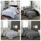 Pinch Pleat Pintuck Gray Duvet Cover Pillowcases Bedding Set King Queen Size US image