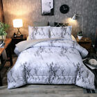Ultra Soft Down Alternative Marble Comforter Set Gray Pillow Shams Queen King image