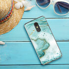 For LG Stylo 5/Plus/5x/5v Phone Case Cover Mint Green Marble TPU +Tempered Glass