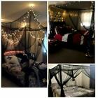 Pretty Polyester Fabric Square Mosquito Net Full Queen King Size Bed 4 Corner NF image