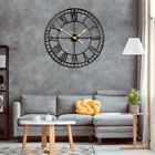 3D Vintage Retro Metal Wall Clock Large Roman Numerals Hollow Iron Mute Decor