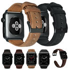 For Apple Watch Series 5 4 3 Retro Genuine Leather Band Men Strap 40mm 42mm 44mm image