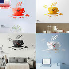 US Modern DIY Large Wall Clock Kit 3D Mirror Surface Sticker Home Office Decor