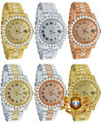 Mens 18K Gold Solid Stainless Steel Simulated Diamonds Presidential Watch 41mm image