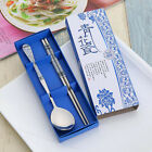 Eco-friendly Spoon And Chopsticks Set Green Leaf Picture Cutlery Tableware
