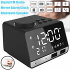 LED Display Dual Wireless Alarm Mirror Clock bluetooth Bass Speaker FM Radio