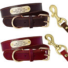 Adjustable Personalized Large Dog Collar and Leash Leather Custom Pet Collar ID