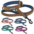 Leather Dog Collar and Leash Set Personalized Custom Nameplate Engraved S-2XL