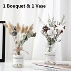 """12"""" Dried Flower Bouquet With Vase Set Home Office Decoration Photography Props"""