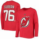PK Subban New Jersey Devils Youth Red Authentic Stack Long Sleeve Name