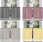 Country Farmhouse Checkered Plaid Café Tier Curtains - Assorted Colors & Sizes