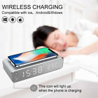 Electric LED Alarm Clock W/ Phone Wireless Charger Desktop Digital Thermometer